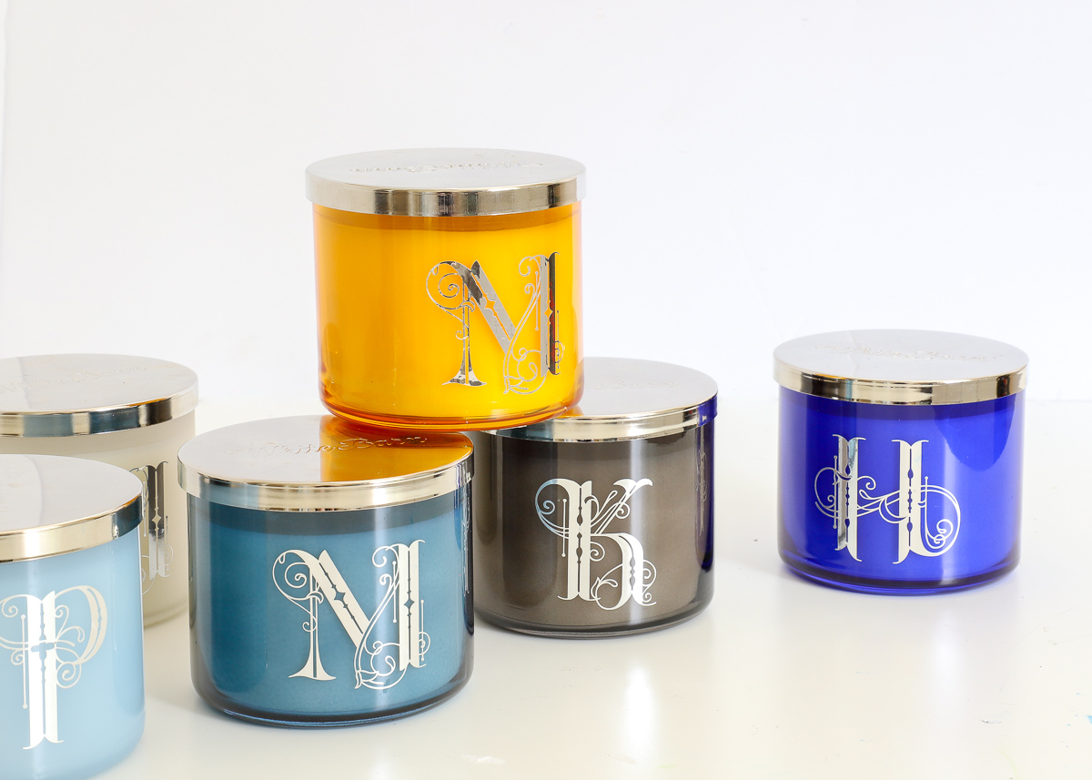 DIY Monogrammed Candles made with the Cricut