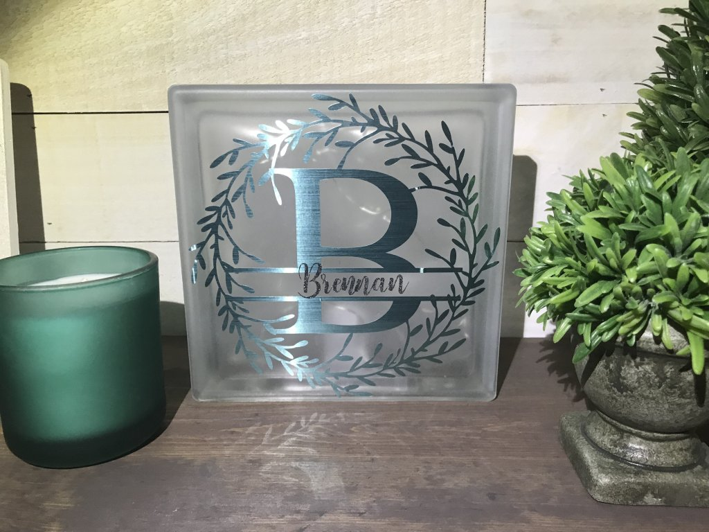 Personalized Glass Block made with the Cricut