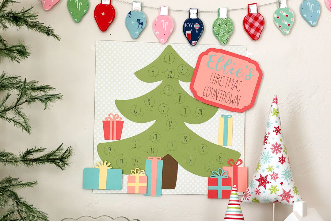 Colorful Paper Christmas Countdown Personalized with the Cricut machine