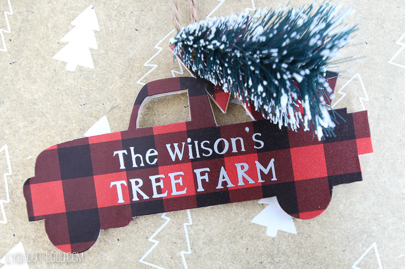 Personalized Red Truck Ornament made with the Cricut machine