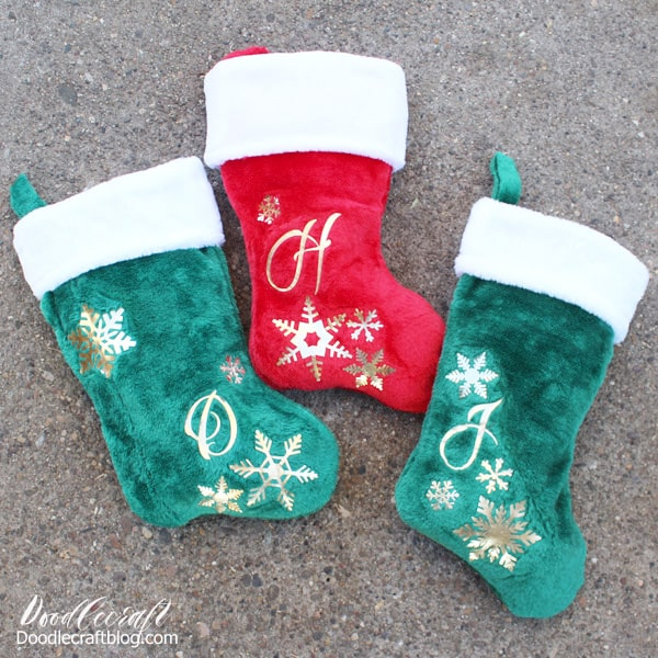 Personalized Christmas Stockings made with the Cricut