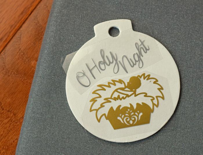 DIY O Holy Night Ornament made with the Cricut Machine