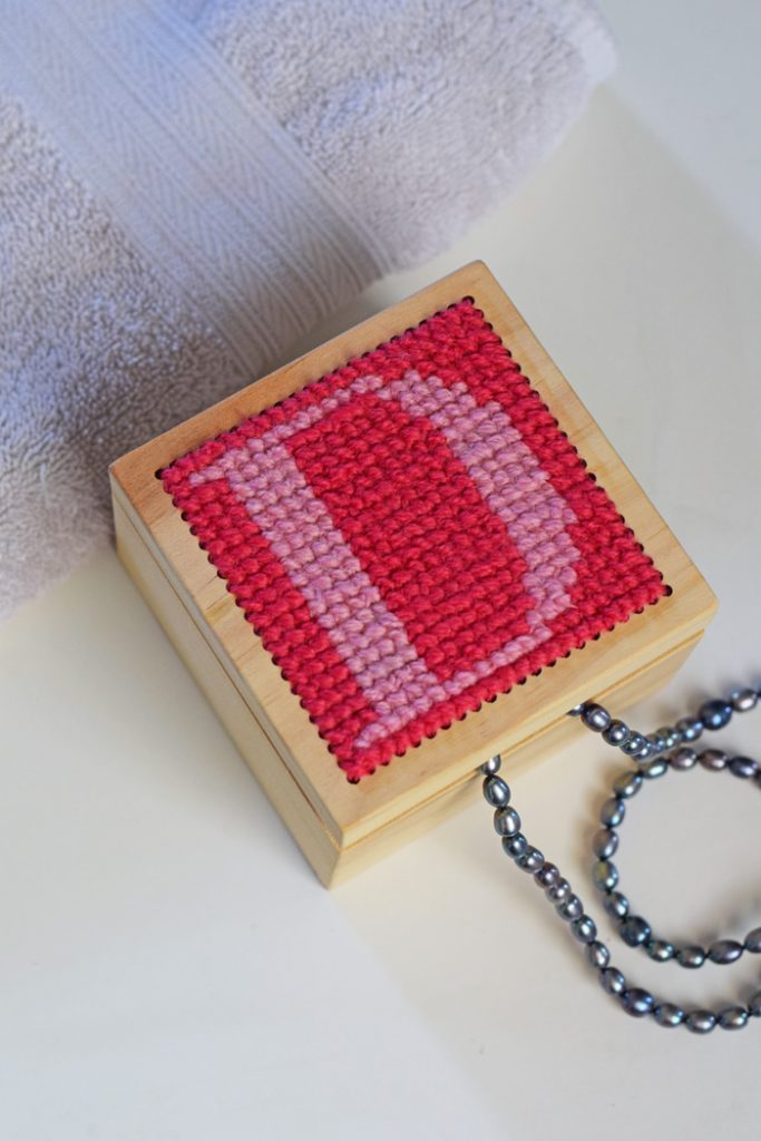 Cross Stitch Monogram Wood Trinket Box