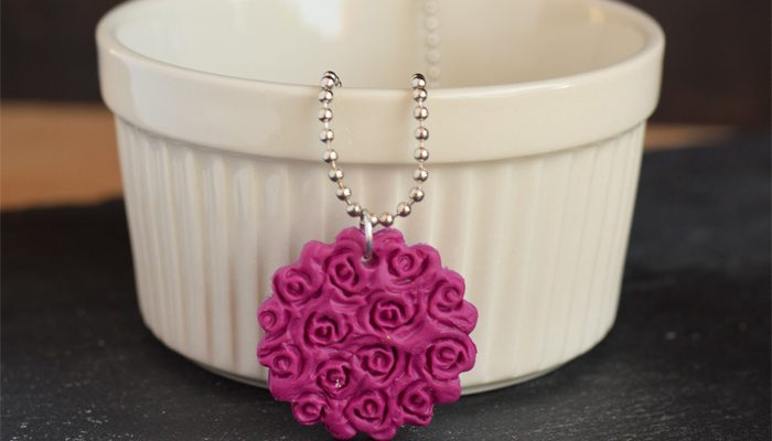 DIY Clay Flower Pendant Necklace