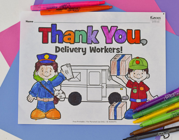 Postal Workers Thank You and Coloring page