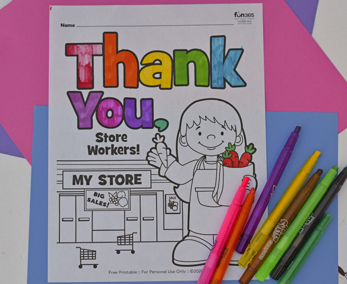 Store Workers Thank You and Coloring page
