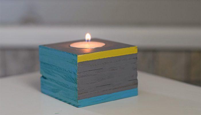 Painted Wood Tea Light Holder