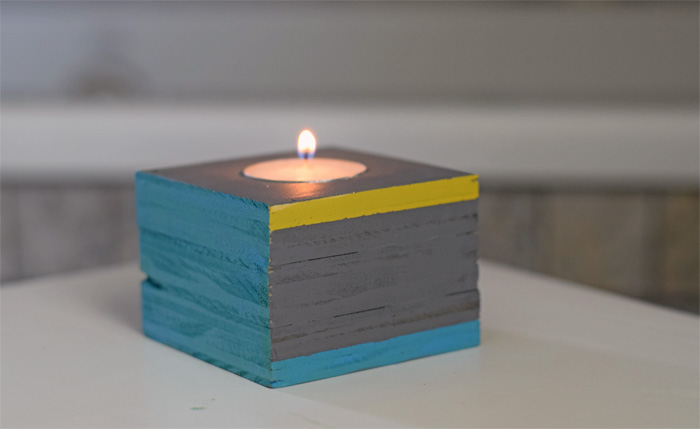 Painted Wood Tea Light Holder