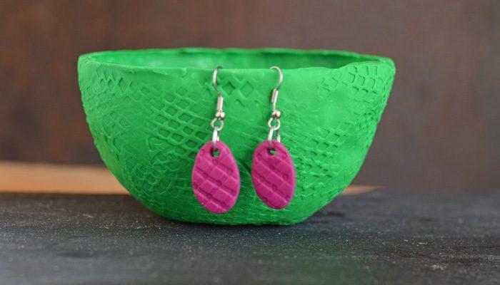 DIY Textured Oval Clay Earrings