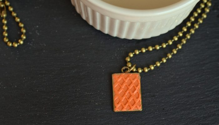 DIY Textured Clay Pendant Necklace