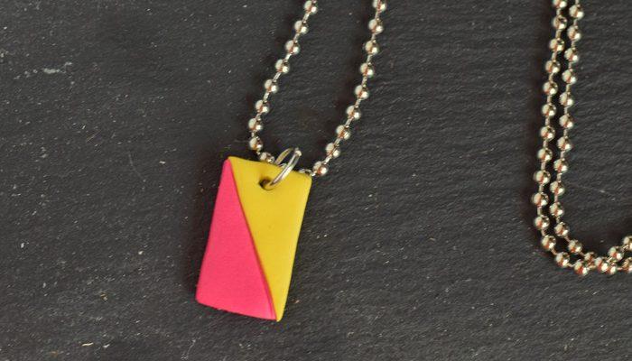 DIY Two Color Clay necklace