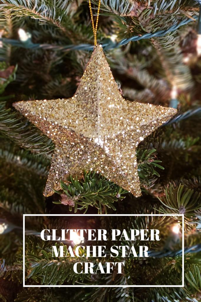 Glitter Paper Mache Star Ornament