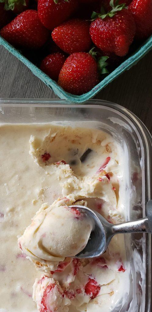 No-Churn Strawberry Shortbread Ice Cream